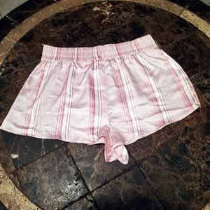 Victoria's Secret Pink White Satin Stripe Short L